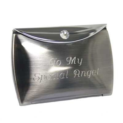 Ladies Compact - Gunmetal Finish w/Crystal Makes a great gift for your beautiful #Bridesmaids! #Wedding