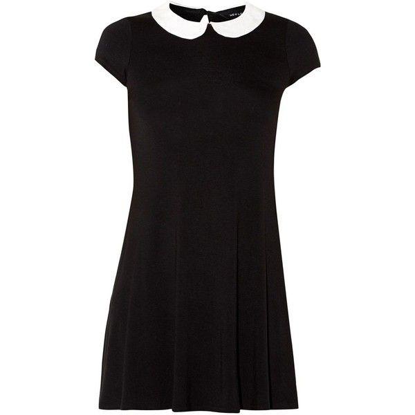 Black Contrast Peter Pan Collar Swing Dress (310 HNL) ❤ liked on Polyvore featuring dresses, vestidos, peter pan dress, workwear dresses, short sleeve peter pan collar dress, tent dress and trapeze dresses