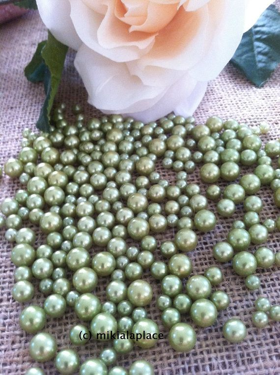Seafoam Green Pearls Candle Votive Fillers No Hole Mix Size Table Ters