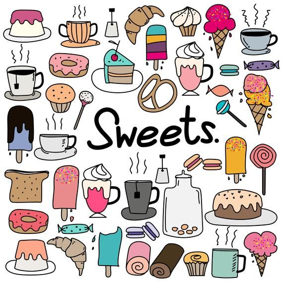 Hand Drawn Doodle Sweets Clipart Doodle Sweets Clipart Cake Etsy Doodles Doodle Drawings Sweets Clipart