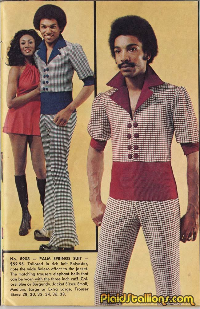 Plaid Stallions: Reflections on '70s pop culture. 'Palm Spring Suit' tailored in rich polyester, bolero style sleeves. #fashion #crime #mockery #hilarity