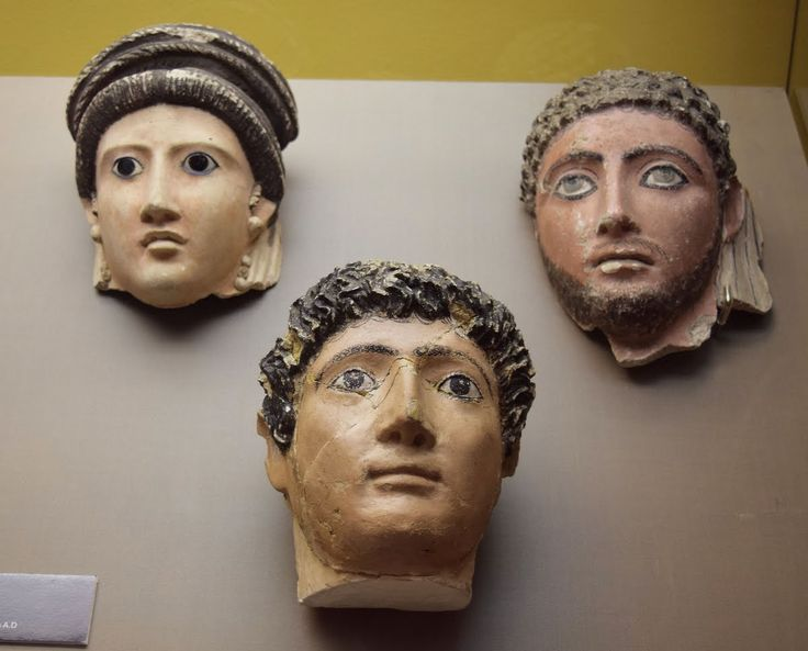 Roman Mummy Masks -- These Roman mummy masks come from ancient Egypt . They date from the 1st-2nd century CE, and they painted and made from plaster. (Pushkin Museum, Moscow)