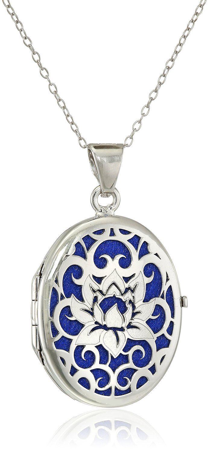 Italian Sterling Silver Lotus Flower Locket Necklace, 18' >>> Check out the image by visiting the link.