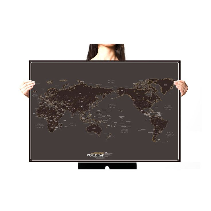 Black World Map Paper Draw Travel Routes Decor Wall Poster Around The World  #Knock #ArtDeco