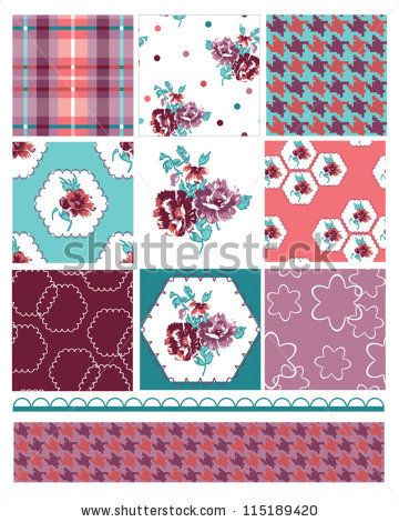 Geometric Floral Seamless Patters and trim. - stock vector