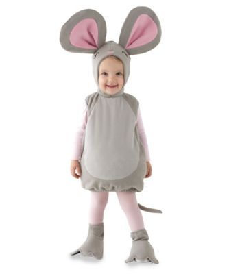 nibble the mouse baby costume - All the creatures were stirring . . . especially the mouse! Because it's Halloween and your cutie gets to scurry about in this plush bodysuit with round belly and long tail. Pink ears top the headpiece. Don't be surprised to find pieces of cheese in her treat bag!