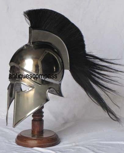 Medieval Armour Greek Corinthian Helmet With Black Plume Armor Halloween Costume #Unbranded