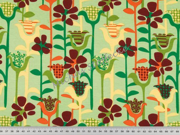 Michas Stoffecke - Stretchjersey langstielige Blüten auf hellgrün S1-PT997427/860012-44-EV