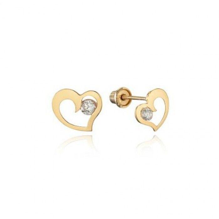 Baby And Children S Earrings 14k Gold Open Heart Cz Back