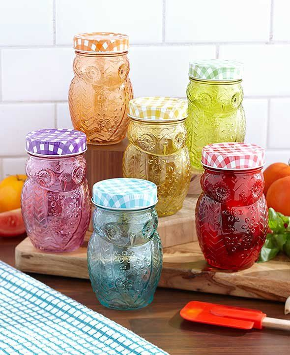 Add functionality and elegance to your kitchen decor with this gorgeous owl colored jars with lid. They can serve as colorful storage or whimsical drinking glasses with lids to prevent spills. Crafted
