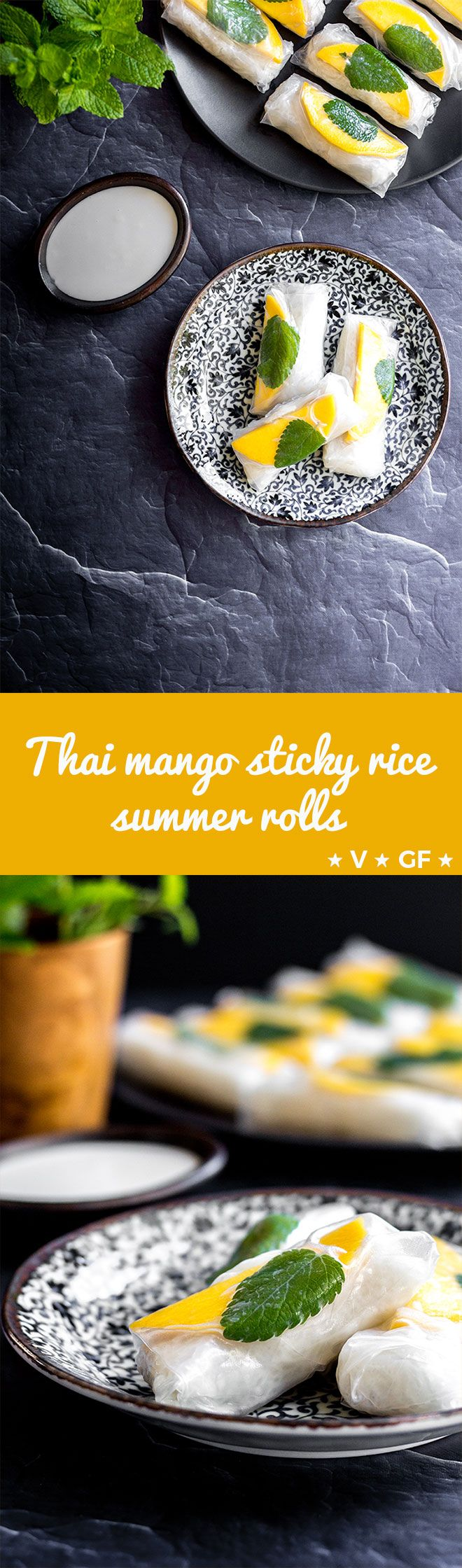 Thai-style coconut sticky rice in spring roll wrappers with juicy fresh mango and mint leaves - a light and refreshing dessert or sweet snack (gluten free and vegan). via @quitegoodfood