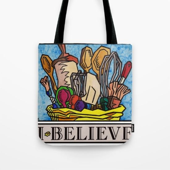 """I Believe in Baking"" by Vernon Fourie \ tote bags baking utensils roller brushes wooden spoons measuring tools wisk passion food"