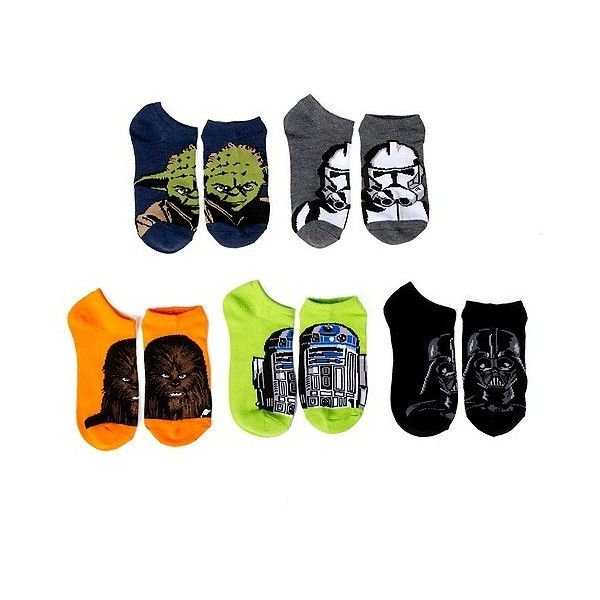 Star Wars Women's 5 Pack No Show Socks ($13) ❤ liked on Polyvore featuring intimates, hosiery, socks, multicolor socks, multi color socks, multi colored socks and colorful socks