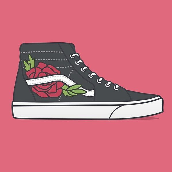 dribbble illustration vans shoes vector sketch design graphicdesign vectorillustration art brand icon designlife rose patch desain seni dribbble illustration vans shoes