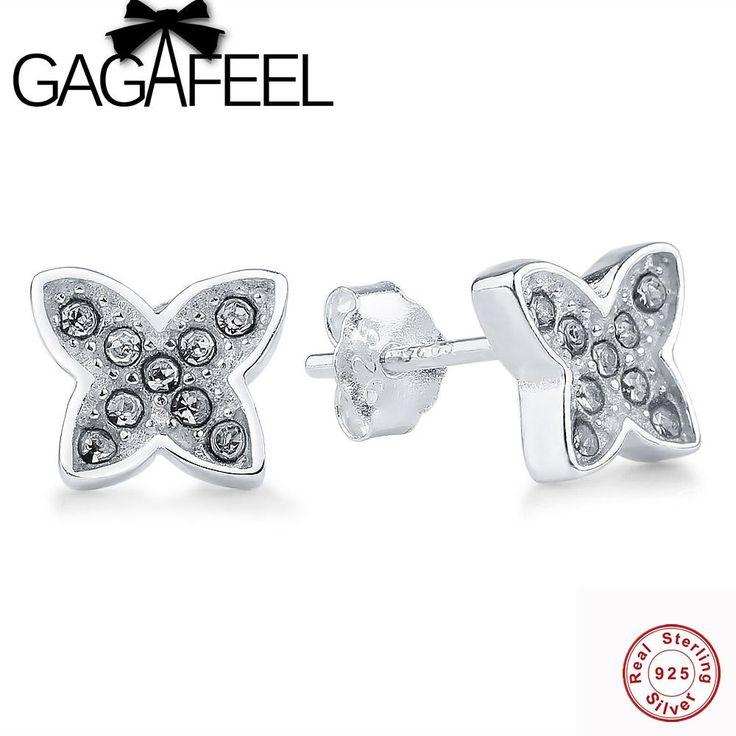 GAGAFEEL 925 Sterling Silver Animal Butterfly Stud Earrings Clear CZ Crystal Women's Silver Earrings for Women Wedding