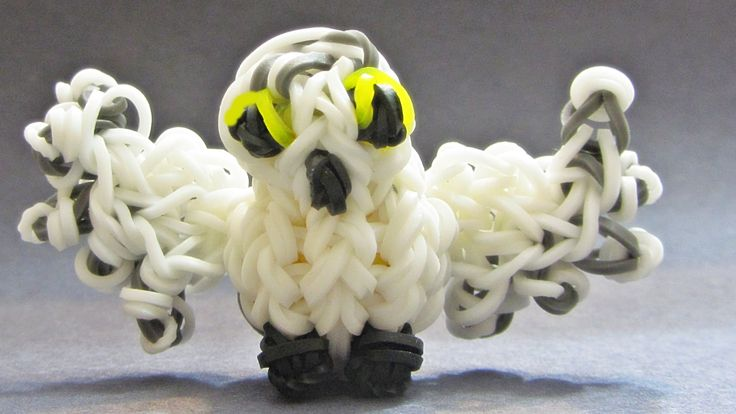 Rainbow Loom Charms Snowy Owl 3D - made with Loom bands (loom Animals)