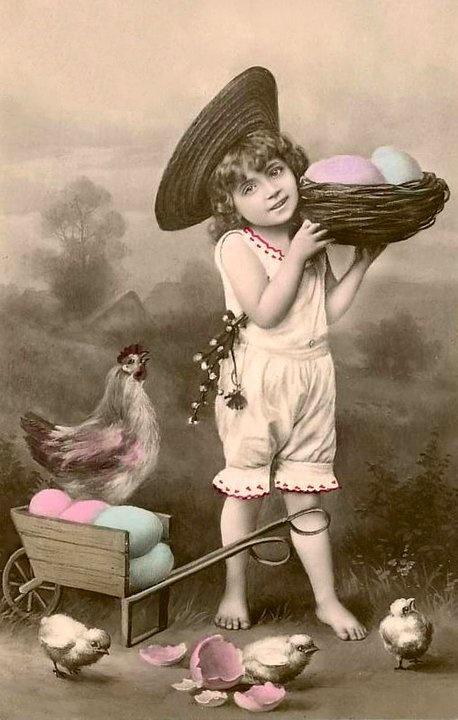 #Easter #RPPC #vintage #photo #girl #eggs