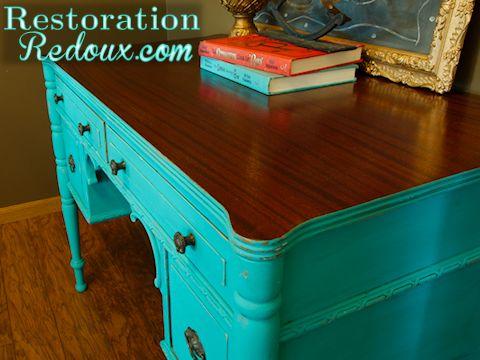 Vintage Turquoise Chalkpainted Desk. Turquoise OfficeDistressed ...