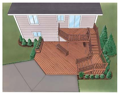 Perhaps something like this would work but with stone for the bottom level as opposed to wood and have the stairs double as a fence?