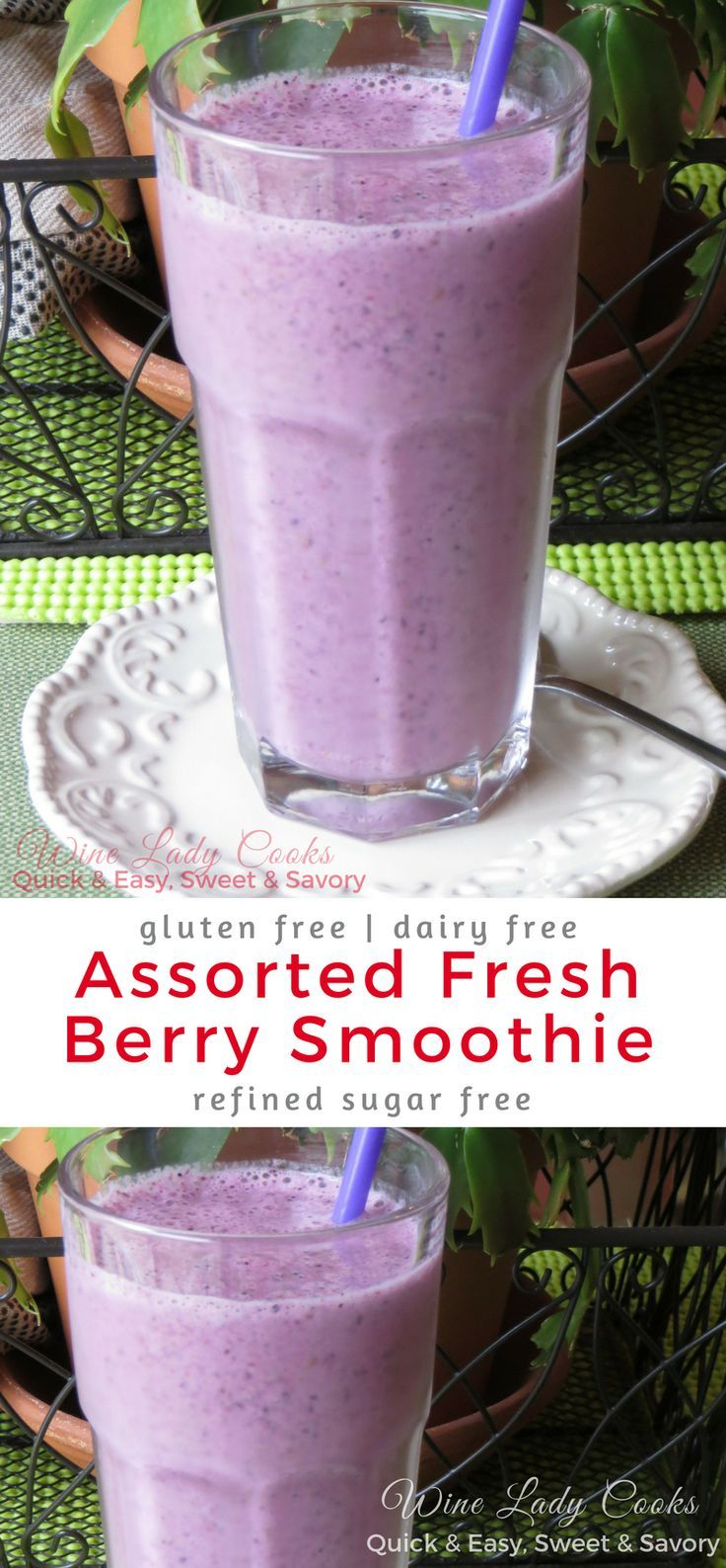 Dairy Free Assorted Fresh Berry Fruit Smoothie Blueberries