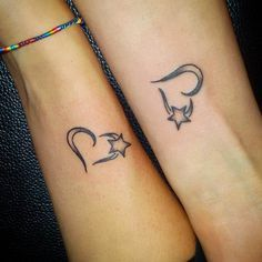 Heart Star Tattoo Design For Women
