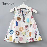 Hurave 2017 Niñas Vestidos de Bebé helado Impresa Niños Vestido Sin Mangas Vestidos de Menina Princess Dress Summer Girls Clothes