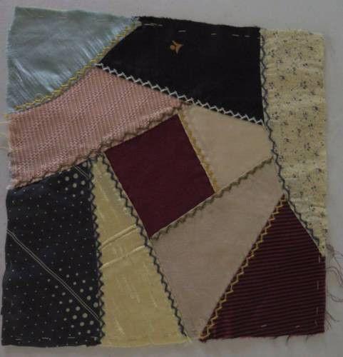 Antique Victorian Crazy Quilt Block Silks Satins A12