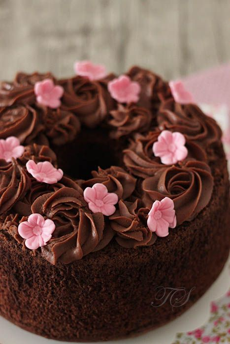 Chiffon cake chocolat ganache chocolat lait2