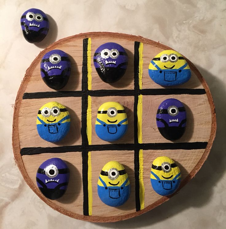 Minions on painted rock.. tic tac toe