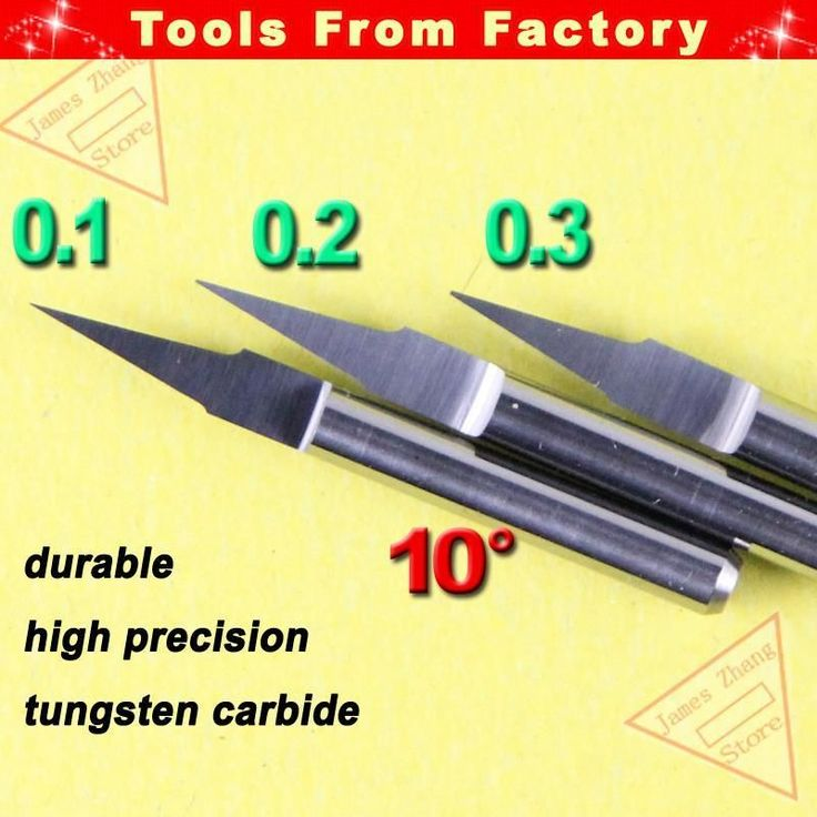 10 pcs 3.175MM Shank 10deg 0.3mm Carbide V bit CNC Router Tool Cutting Carving Engraving PCB Cutters Woodworking J3.1003