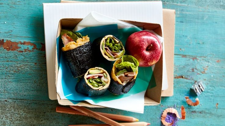 Egg, bacon & nori roll ups with avocado and lettuce paleo recipe