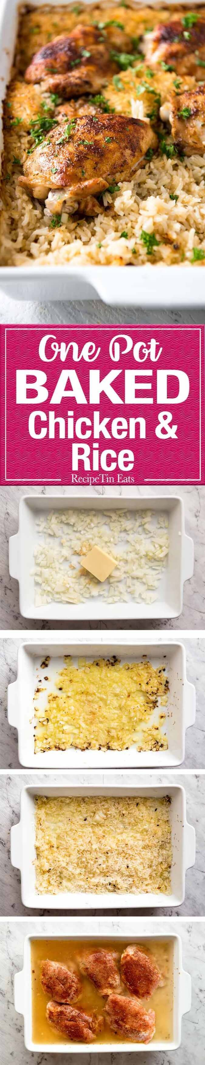 Oven Baked Chicken & Rice made in one pan, no stove. The step that makes all the difference is baking butter and onion before adding rice, liquid and the chicken. The rice is outrageously delicious! www.recipetineats.com