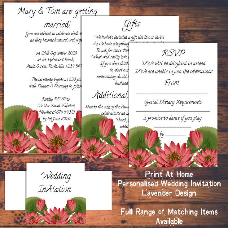 Print At Home Wedding Invitations   Pink Water Lily Design   Matching Items  Available By LittleVixenInvites