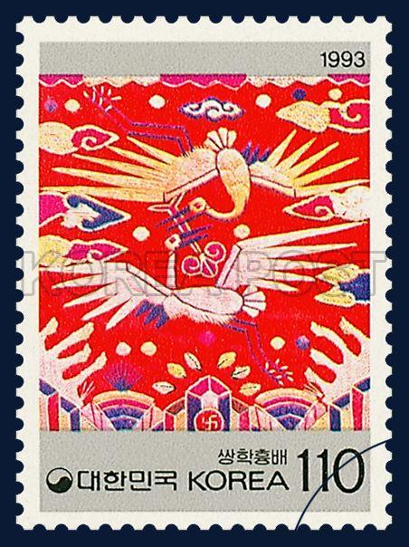 KOREAN BEAUTY SERIES(3rd), crane, traditional culture, red, white, 1993 10 11, 한국의 미 시리즈(세번째묶음), 1993년 10월 11일, 1738, 쌍학흉배, postage 우표