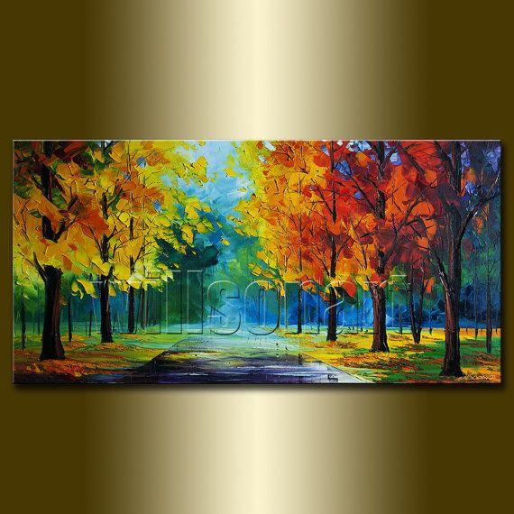 Seasons Tree Textured Palette Knife Autumn Landscape ...