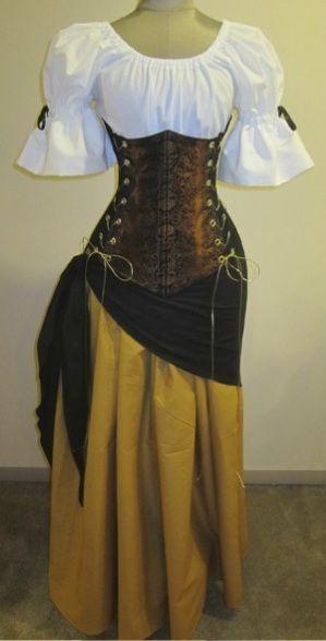 $179.99 Buccaneer Wench Under-bust Corset Set - renaissance clothing, medieval, costume