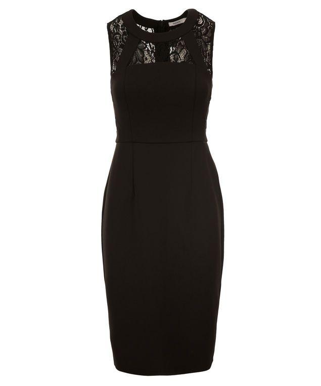 Lace Banded Scuba Dress, Black