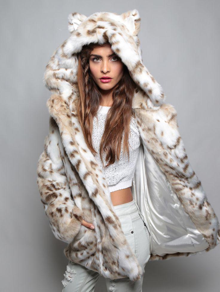 Leopard Faux Fur Coat, Snow Leopard Fake Fur Coat