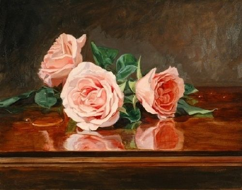 Roses on a Mahogany Table by Sandra Corpora Oil ~ 11 x 14