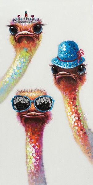 Schilderij struisvogels 60x120 | Schilderijenshop