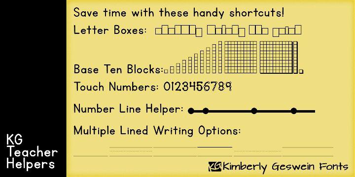 New Teacher Fonts: KG Primary Penmanship, KG Teacher Helpers, and KG Fractions