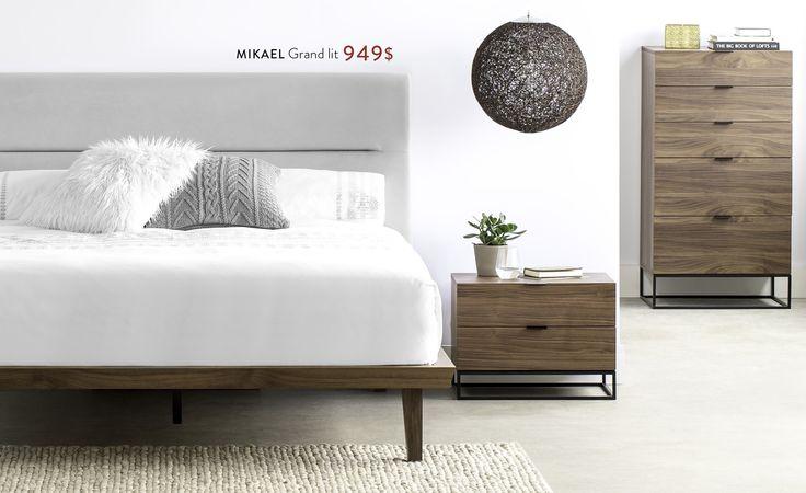 structube mikael grand lit 949 mikael table de chevet 399 mikael commode troite 899. Black Bedroom Furniture Sets. Home Design Ideas