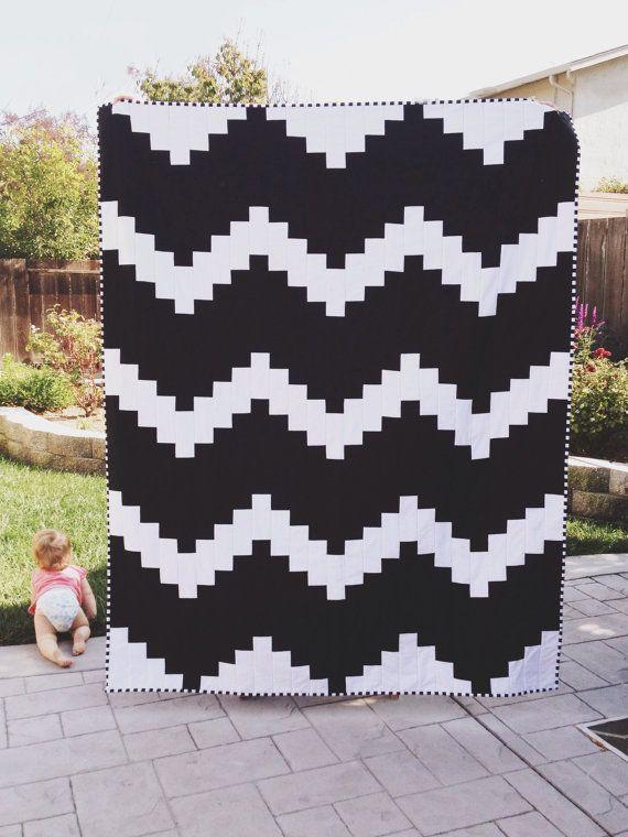 black & white modern chevron quilt.