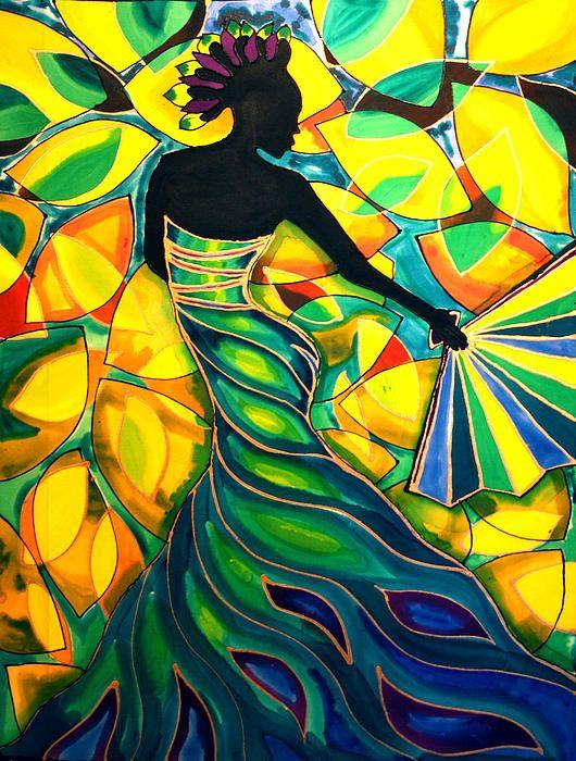 Vanessa With A Fan Caya Caulker Belize - Painting - Lee Vanderwalker