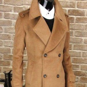 mens peacotas | Wfashionmall pea coats for men cheap mens clothes double cashmere long ...