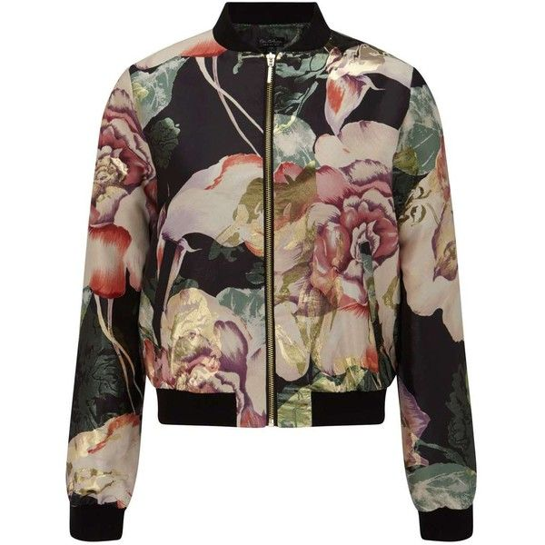 Miss Selfridge Floral Print Bomber Jacket (£100) ❤ liked on Polyvore featuring outerwear, jackets, bomber jacket, coats & jackets, tops, assorted, floral bomber jacket, flight jacket, flower print jacket and jacquard jackets
