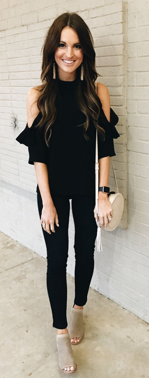 #spring #outfits Black Open Shoulder Top & Black Skinny Jeans & Grey Open Toe Booties: