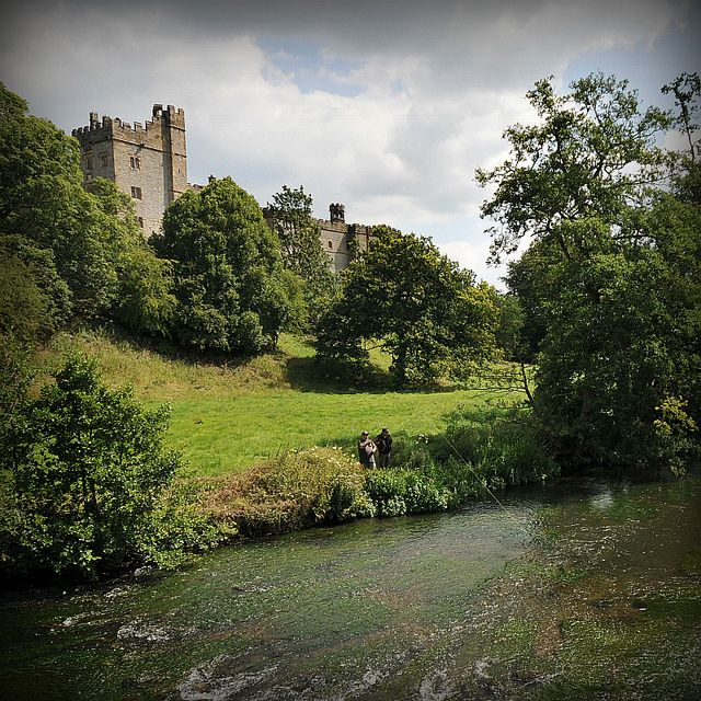Fly Fishing At Haddon Hall.Nr Bakewell Derbyshire, England,