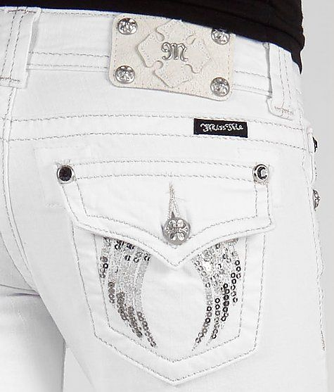 Miss Me Sequin Wing Boot Stretch Jean