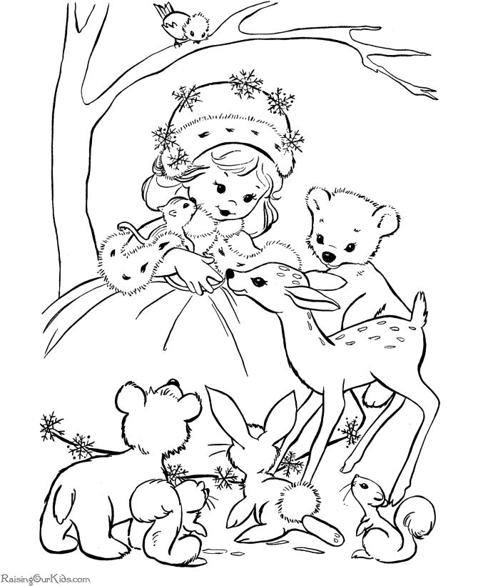 Winter Girl Coloring Pages For Kids Printable Free